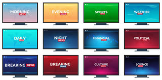 Set of Mass media. Sports, weather, financial, political, culture and science news. Breaking, morning, night, daily and evening ne. Ws banner. Live Television Royalty Free Stock Images