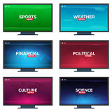 Set of Mass media. Sports, weather, financial, political, culture and science news. Breaking news banner. Live. Television studio. Set of Mass media. Sports Stock Images