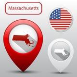 Set Massachusetts stan z chorągwianym America i mapy pointerem Obraz Royalty Free