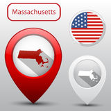 Set of Massachusetts state with flag america and map pointer Royalty Free Stock Image