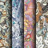 Set maswerków kolorowi bezszwowi wzory Wyginający się doodling tła dla tkaniny lub druk z mehndi i etnicznymi motywami Fotografia Royalty Free