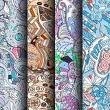 Set maswerków kolorowi bezszwowi wzory Wyginający się doodling tła dla tkaniny lub druk z mehndi i etnicznymi motywami Obrazy Royalty Free