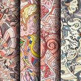 Set maswerków kolorowi bezszwowi wzory Wyginający się doodling tła dla tkaniny lub druk z mehndi i etnicznymi motywami Zdjęcie Royalty Free