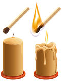 Set match and candle. New and burns Royalty Free Stock Image