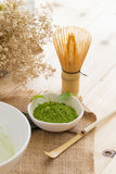 Set of matcha powder bowl, wooden spoon and whisk, green tea lea. F, Organic Green Matcha Tea ceremony Stock Photos