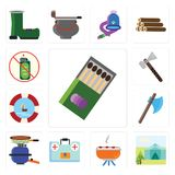 Set of Matches, Tent, Barbecue, First aid kit, Pot, Axe, Float, royalty free illustration