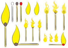 Set with matchsticks. Clipart with various matches and fires of different forms Stock Photo