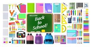 Set materiały dla szkoły, ilustracja wektor
