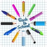 Set materiały dla uczni szkoła, Z powrotem ilustracja wektor