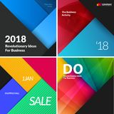 Set of material design abstract templates. Creative modern business background with colourful triangles Stock Photography