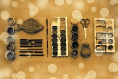 A set of materials for creativity and drawing Hobbies. Classes for creativity with children. Flat lay top view royalty free stock photography