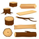 Flat vector set of materials for wood industry. Old tree stumps and branch, long beam and planks, wooden log. Natural Stock Photography