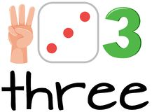 Set of math counting number three stock illustration