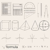 Set of math icons. Linear style. Knowledge of math and geometry. The geometric shapes. The abacus and the calculator. The pen and pencil. Concept of knowledge vector illustration
