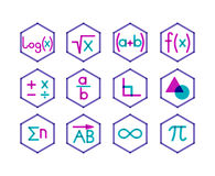 Set of 12 math icons. Trendy transparent style. Different direction of math stock illustration