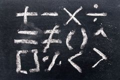 Set of math symbol draw by chalk on black board. Background stock images