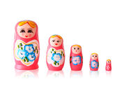 Set of matrioshka dolls  on white Stock Photos