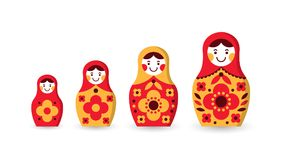 Set of matryoshka russian nesting dolls. Of different sizes, souvenir from Russia Stock Photography