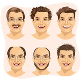 set of mature man avatar with different hairstyles Royalty Free Stock Images