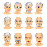 set of mature man avatar with different hairstyles Stock Photo