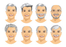 set of mature man avatar with different hairstyles Royalty Free Stock Photo