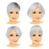 Set of mature woman avatar stock illustration