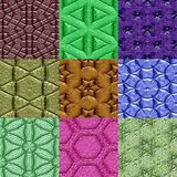 Set of Mayan ornaments seamless generated textures Royalty Free Stock Image