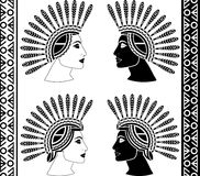 Set of mayan woman profiles Royalty Free Stock Photography