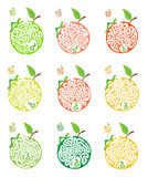Set of maze puzzle for kids with caterpillars and apple. Labyrinth illustration, solution included. Stock Images