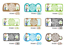 Set of Maze puzzle for kids with gardener and flower. Labyrinth illustration, solution included. Stock Images