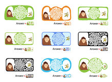 Set of maze puzzle for kids with monkey and banana. Labyrinth illustration, solution included. Royalty Free Stock Images