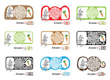 Set of maze puzzle for kids with rabbit and carrot. Labyrinth illustration, solution included. Stock Images