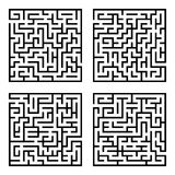 Set of mazes labyrinths. Vector illustration of simple four labyrinths in set Stock Photo