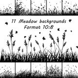 Set of Meadow backgrounds. Set of Eleven Meadow backgrounds design with butterflies royalty free illustration