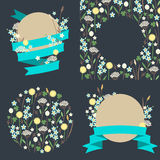 Set of meadow flowers compositions made Stock Images