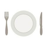 Set for meal, a knife a fork and a plate royalty free stock images