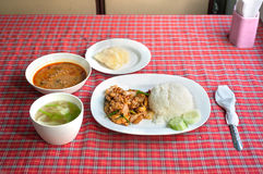Set meal onboard the Chiang Mai to Bangkok overnight train, Thai Royalty Free Stock Image