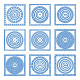 Set of meander borders and frames. Ancient traditional greek decoration. greece blue color. vector Stock Image
