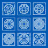 Set of meander borders and frames. Ancient traditional greek decoration. greece blue color. vector Royalty Free Stock Images