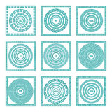 Set of meander borders and frames. Ancient traditional greek decoration. greece blue color. vector Royalty Free Stock Photo