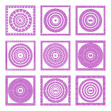 Set of meander borders and frames. Ancient traditional greek decoration. greece vector Pink, and purple colors. Stock Photo