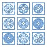 Set meander ramy i granicy Antyczna tradycyjna grecka dekoracja greece błękitny kolor wektor royalty ilustracja