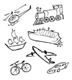 Set of means of transportation. Vector illustration of transportation means - free hand Stock Photo
