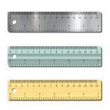 Set of measurement rulers Stock Photo