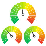 Set of measuring icons on a white background. Speedometer icons set Royalty Free Stock Photography
