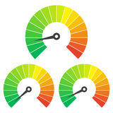 Set of measuring icons on a white background. Speedometer icons set Royalty Free Stock Photos
