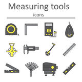 A set of measuring instruments used in construction to measure distances and other variables. Vector illustration Royalty Free Stock Images