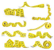 Set of measuring tapes isolated on white background Stock Images