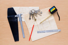 Set of measuring tools on wooden background royalty free stock photos