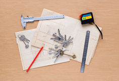 Set of measuring tools on wooden background stock image